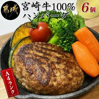 【ふるさと納税】宮崎牛100%ハンバーグ6個 - 宮崎牛 150g×6個 3...