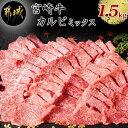 【ふるさと納税】都城産宮崎牛カルビミックス1.5kg - 焼