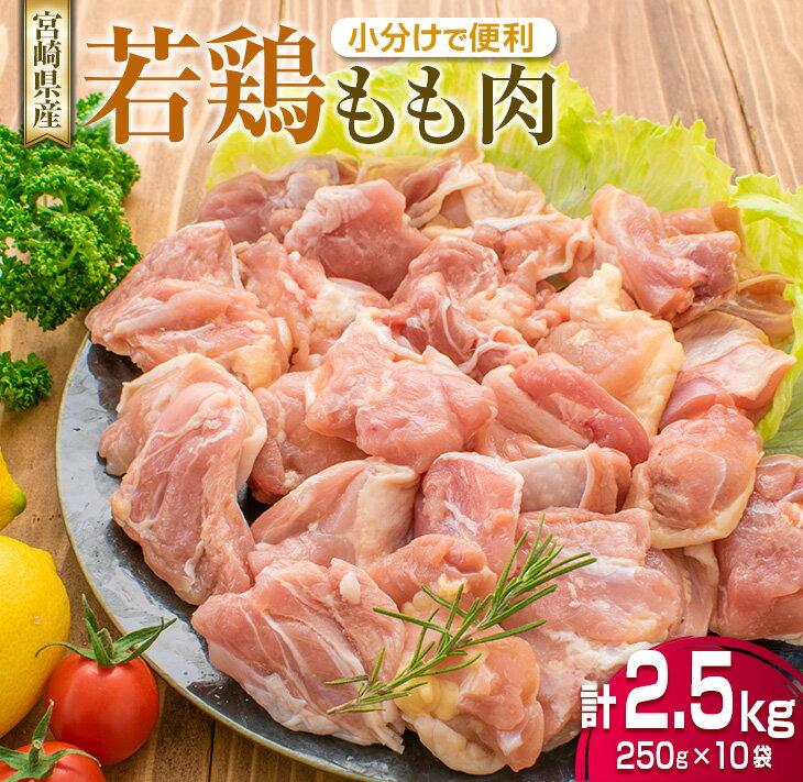 鶏肉≪小分けで便利≫若鶏モモ肉(計2.5kg)250g×10袋[宮崎県産]