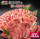 【ふるさと納税】4等級以上!!県産黒毛和牛(300g)と県産豚(500g)のお楽しみ焼肉セット<合計800g>