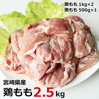 【ふるさと納税】宮崎県産鶏もも2.5kg 鶏肉 冷凍 宮崎県産 九州産 国産 送料無料