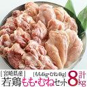 【ふるさと納税】宮崎県産若鶏8kgセット 鶏肉 モモ ムネ ...