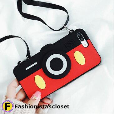 *iPhone6/6S/6+/6S+、iPhone7/8+対応*ショルダー付カメラミッキーケース【アイホンケースiPhoneケースアイフォンケース韓国ファッション・ストラップ・ミッキーマウス・ディズニー】fashoinistascloset】/iphoneケース 6.7.8plus・
