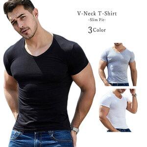 Vネック シンプル Tシャツ コットン スリムフィット 半袖 メンズ ブラック ホワイト ちびT ピタT メンズ マッチョ ラグジュアリー トレーニング 父の日 スポーツ GTLINE Favolic ファボリック