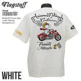フラッグスタッフスヌーピーバイク&ゴーグル刺繍半袖TシャツFLAGSTAFF×SNOOPY