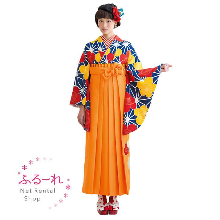 [往復送料無料][卒業式 袴]紺地に麻の葉模様が際立つレトロポップな袴 MIH322【153cm~160cm】fy16REN07