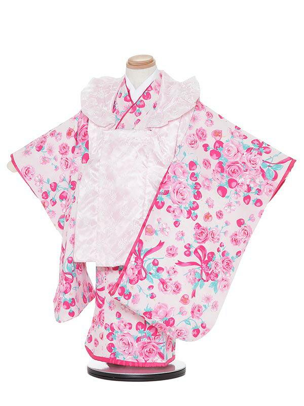 【レンタル】七五三レンタル 女の子 3歳着物フルセットH331 Mezzo Piano ピンク 被布セット 子供着物 貸衣装