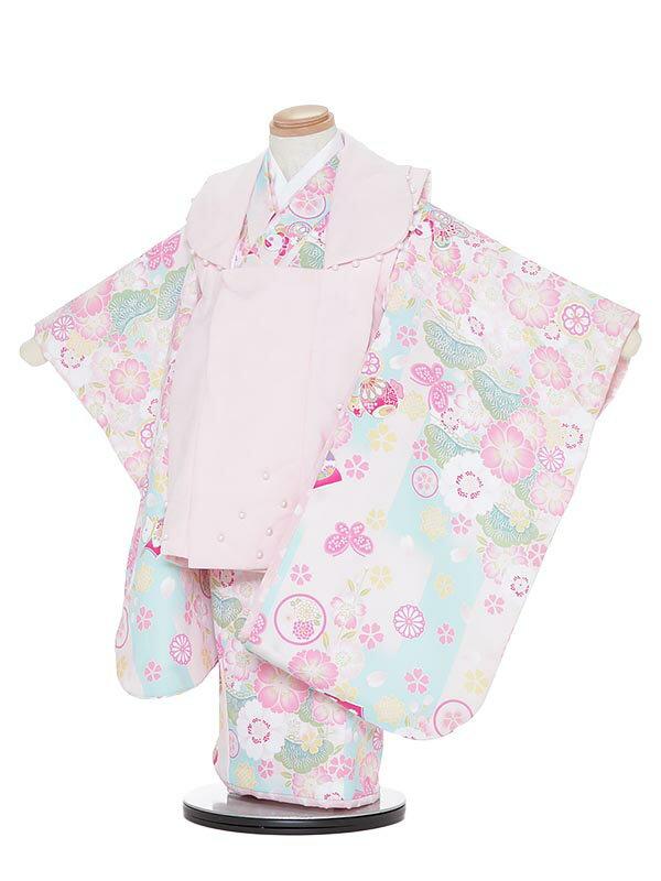 【レンタル】七五三レンタル 女の子 3歳着物フルセットH332 pom ponette 水色 被布セット 子供着物 貸衣装