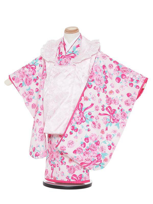 【レンタル】七五三レンタル 女の子 3歳着物フルセットH345 Mezzo Piano ピンク 被布セット 子供着物 貸衣装