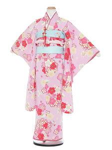 【レンタル】七五三 7歳着物レンタル H723 JAPAN STYLE ピンク 梅 フルセット貸衣装 女の子 子供着物 お正月 ひな祭り 結婚式 753 キッズ着物 七五三レンタル きもの