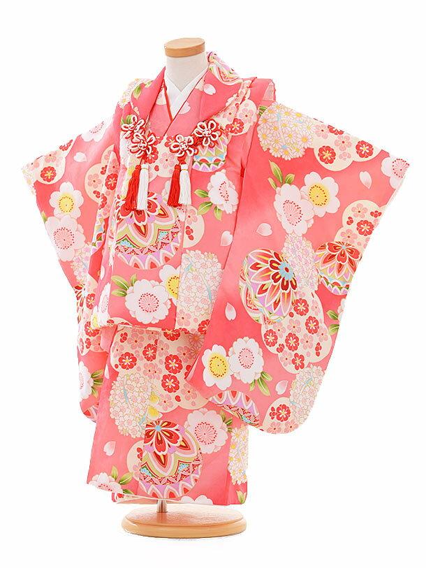 【レンタル】七五三レンタル 女の子 3歳着物フルセットA302 ピンク地 鞠 被布セット 子供着物 貸衣装