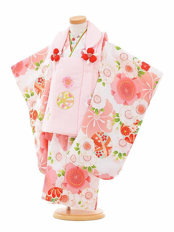 【レンタル】七五三レンタル 女の子 3歳着物フルセットA315 ピンクまり×白桜 被布セット 子供着物 貸衣装