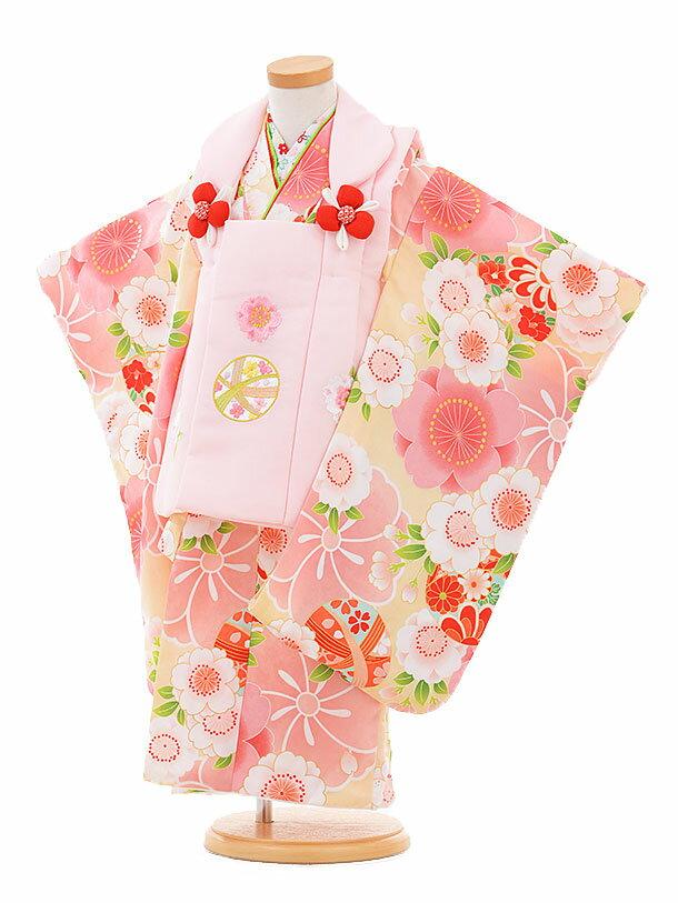 【レンタル】七五三レンタル 女の子 3歳着物フルセットA316 ピンク鈴×黄色鼓に花 被布セット 子供着物 貸衣装
