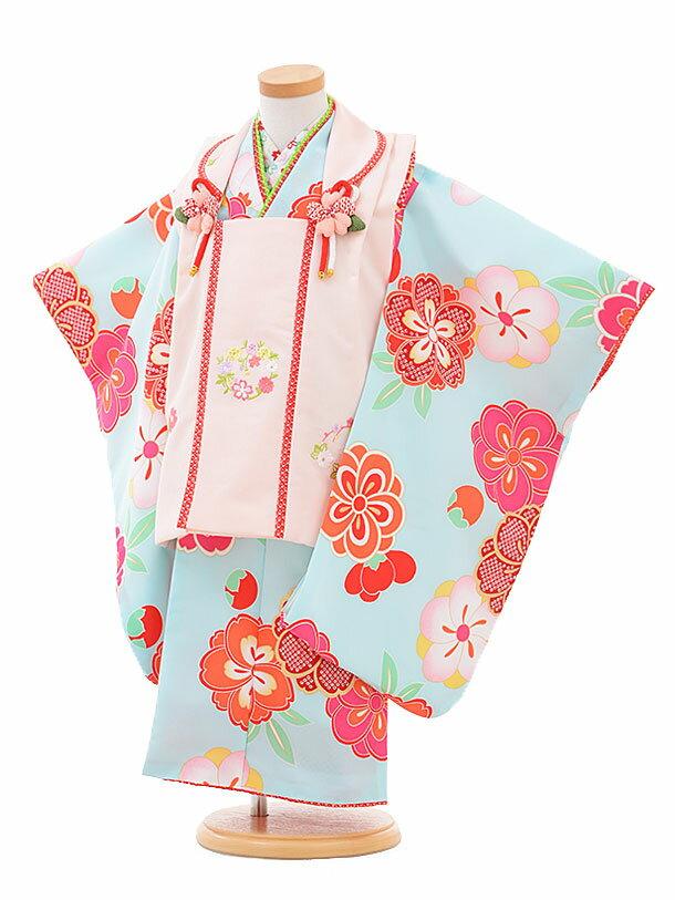 【レンタル】七五三レンタル 女の子 3歳着物フルセットA324 式部浪漫ピンク×水色 被布セット 子供着物 貸衣装