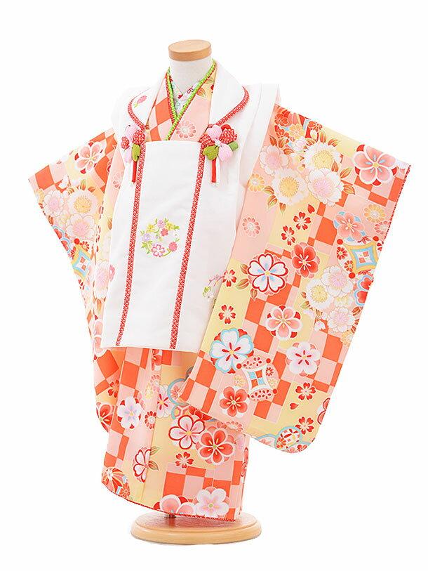 【レンタル】七五三レンタル 女の子 3歳着物フルセットA327 式部浪漫白×黄色 被布セット 子供着物 貸衣装
