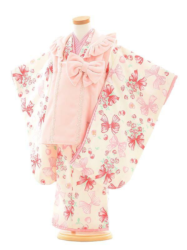 【レンタル】七五三レンタル 女の子 3歳着物フルセットA343 Mezzo Piano ピンク×クリーム 被布セット 子供着物 貸衣装