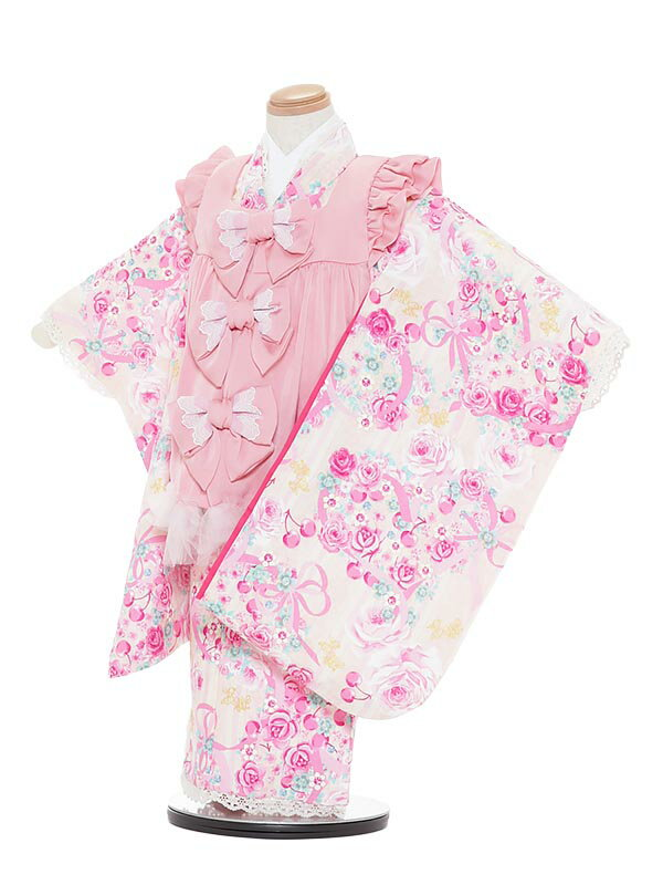 【レンタル】七五三レンタル 女の子 3歳着物フルセットA344 Mezzo Piano ピンク×黄色 被布セット 子供着物 貸衣装