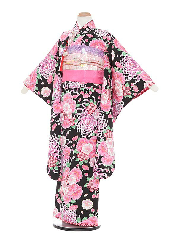【レンタル】七五三 7歳着物レンタル A774 JAPAN STYLE 黒地 フルセット貸衣装 女の子 子供着物 お正月 ひな祭り 結婚式 753 キッズ着物 七五三レンタル きもの