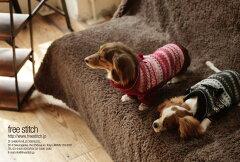 【2010A・W ポストカード】キャバリア、ダックスとフェアアイルセーター[free stitch]