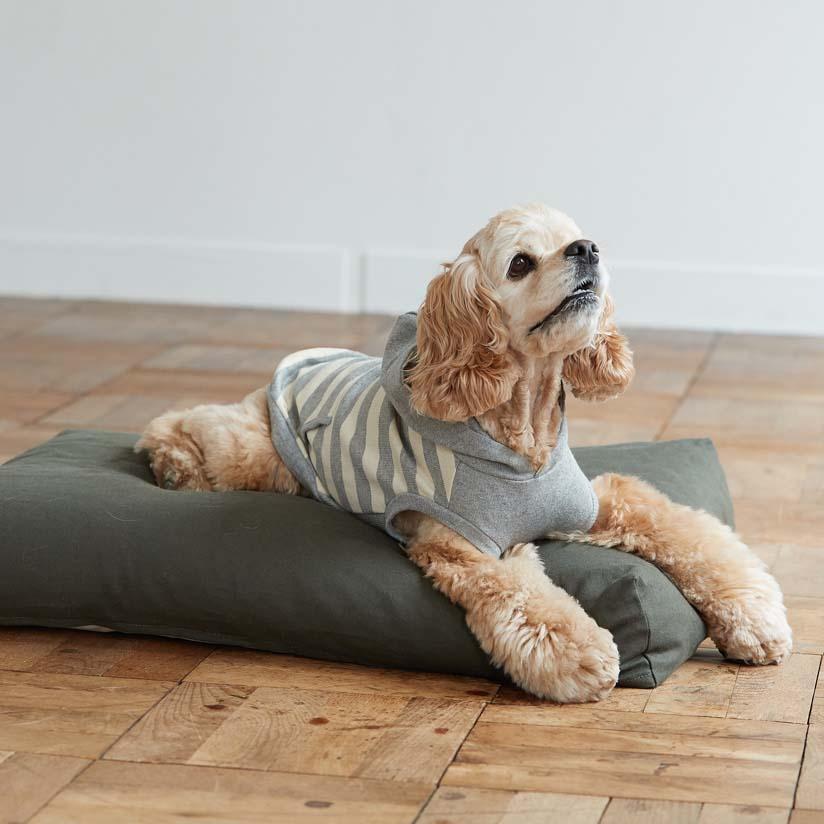 【犬 ベッド】コットン リネン スクエア ベッド M サイズ 犬用フリーステッチ おしゃれ マット 洗える シンプル 日本製 リネン 夏