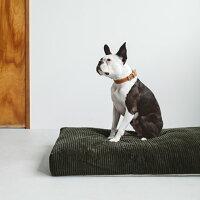 【犬ベッド】コーデュロイスクエアベッドLサイズ犬・猫ベッドペット用ベッドラウンド型ベッドカーキbed洗えるリネンふかふか国産