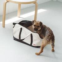 【犬キャリー】スクエアトートハンプツートンLサイズペット用品愛犬用ブラックカーキ小型犬用お出かけバッグキャリーバッグ