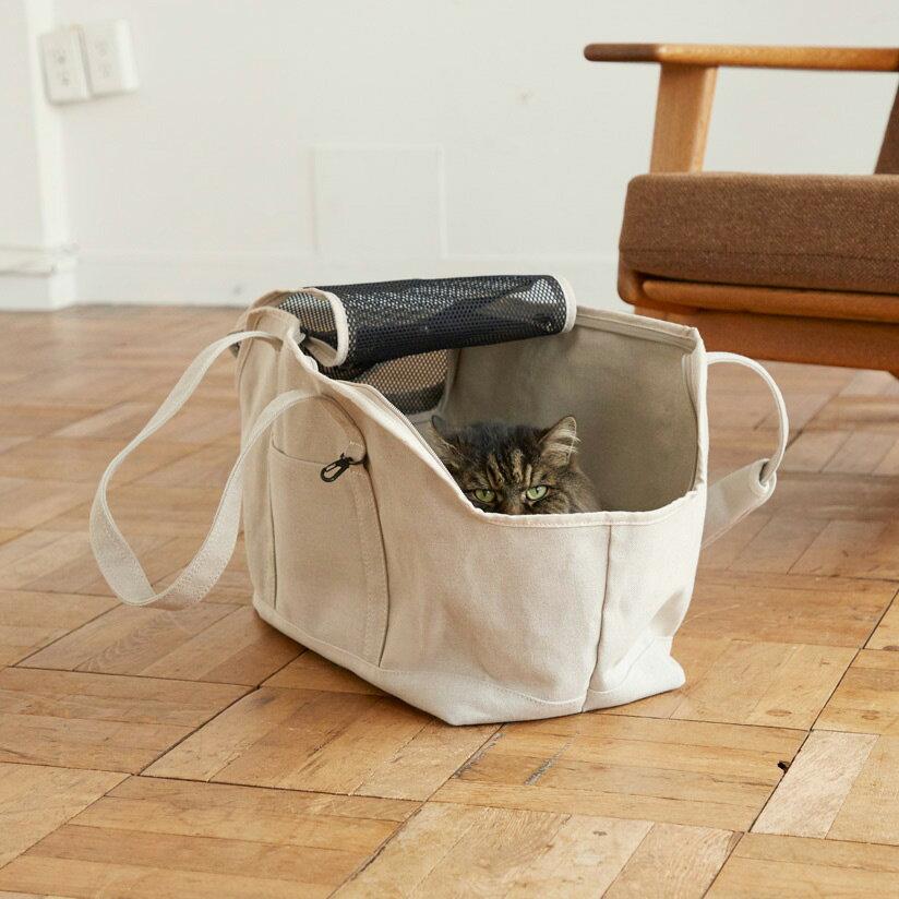 スクエア トート  リネン ソリッド Lサイズ 猫用キャリー ネコ 猫 病院 シンプル 人気 おしゃれ 日本製 かばん