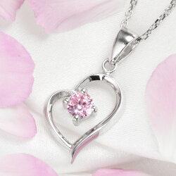 ネックレスオープンハートネックレス一粒ピンクネックレス女性ジュエリーアクセサリープレゼント誕生日結婚記念日ギフトネックレスレディースnecklacepresent