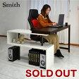 【送料無料】パソコンデスク L字型デスク 回転デスク スミス(Smith 37025) -GKA ディスプレイ 万能デスク ホワイト ブラウン プリンター台 作業台 机上ラック スライド ライティングデスク