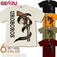 マグナムに巻き付く蛇が斬新。背面には弾丸の拳銃Tシャツです。|GENJU