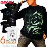 GENJU Tシャツ メンズ ユニコーン トライバル ストリート系 キレイめ 十字架 クロス 馬 きれいめ アメカジ ラインストーン スワロフスキー ブランド 半袖 長袖 tシャツ ロンT EMPEROR CROSS ブラック 黒 ホワイト 白 大きめサイズあり XXL XXXL 2L 3L 4L 90-140cm XS-XXXL
