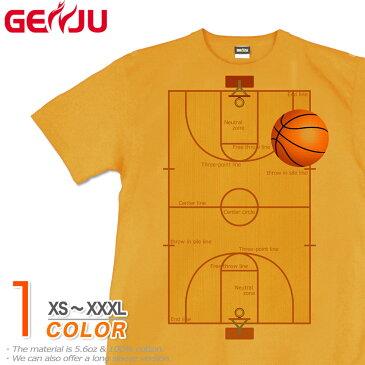 GENJU Tシャツ メンズ バスケ 部活 バスケットボール スポーツ ユニフォーム 応援 グッズ ストリート アメカジ サイズ豊富 グラフィティ 半袖 ブランド TheBasuketballCourt 黄色 大きめサイズあり XXL XXXL 2L 3L 4L 90-140cm XS-XXXL