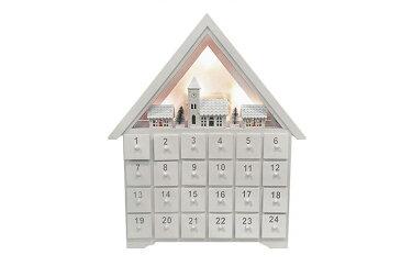送料無料 ホワイト 白 無地 カウントダウン アドベントカレンダー サンタ カレンダー 北欧 可愛い 木製 家 ハウス クリスマス イベント インテリア GMS01863 【winter_sp_d】