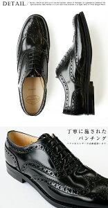 【jg】チャーチChurch'sレディースオックスフォードエナメルおじ靴レースアップ《BurwoodWBlackPolishedBinder》上質レザー使用正統派英国靴として大人気♪安定感のある太めヒール♪