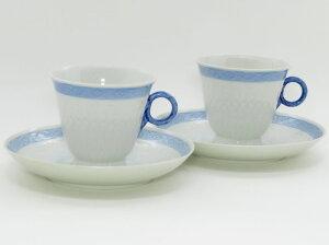 ロイヤルコペンハーゲン カップ&ソーサー■ブルーファン コーヒーC&S 2客セット レア Blue Fan 1級品 2