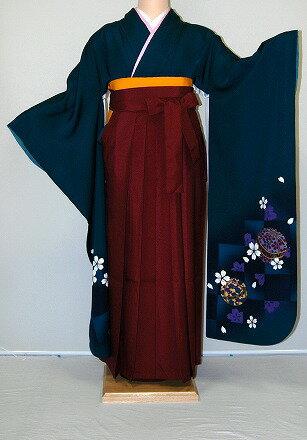 【レンタル】振袖、袴(はかま)レンタル【青・青紫・緑系】【HF785】標準/L寸/7号/9号/11号/13号/秋のキャンペーン