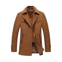 ウール混紡メンズジャケット中綿入りビジネスジャケットブレザー厚手ブルゾン無地ダブル襟テーラードジャケット重ね着風暖かい秋冬服5色M-5XL襟取り外し可能