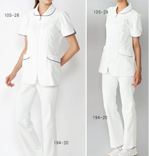 カゼン KAZEN (旧アプロン)105-28・29 レディスジャケット半袖 サイズ:S〜4L ナースウェア 白衣