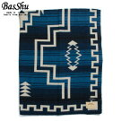 BasShuバッシュウールブランケット153×180ジャガードナバホ泉大津日本製WoolBlanketブルー
