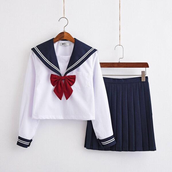 学生服セーラー服レディース白色長袖+ネイビースカート+赤色蝶結び上下セット大人クリスマスセーラー服ハロウィンセクシーコスチューム