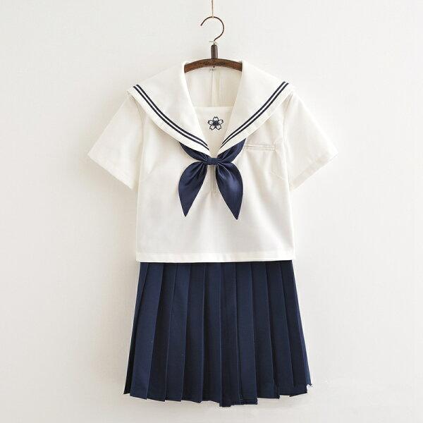 学生服白色+ネイビー上下4点セットセーラー服半袖女子制服JK制服女子制服コスチューム衣装コスプレ衣装高校生レディース大人大きいサ
