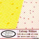 【Andoverアンドーバー】Catnap Ribbon リボンキャット柄★ダブルガーゼ生地【ねこ・動物・マスク】