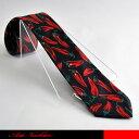 ブラックに真っ赤なトウガラシがインパクあるデザインネクタイです。☆料理ネクタイ/とうがらしネクタイ/ジョークネクタイ/