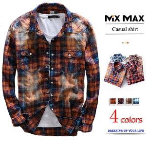 カジュアルシャツ チェックシャツ チェック柄 ネルシャツ 格子 ジャケット 長袖 ボタンダウンシャツ ウエスタンシャツ メンズ トップス キレイ目 コットン ファッション