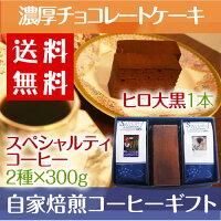【送料無料】HIROCOFFEE◆絶品濃厚チョコレートケーキ【大黒柱】とスペシャルティ珈琲2種×300gセット