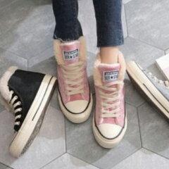 起毛暖かい冬スタイルハイカットキャンバススタイル靴