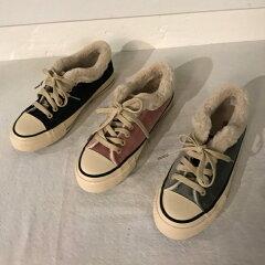 起毛で暖かい冬スタイルキャンバススタイル靴