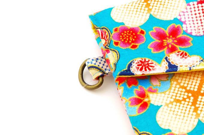 御朱印帳袋/花遊び金彩(水色) 手づくり ケース カバー バッグ 巾着