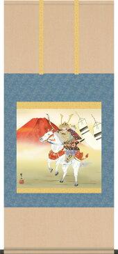 掛け軸-白馬武者/唐沢 碧山(尺八横)こどもの日の飾り、端午の節句画掛軸、男児の成長を祝う、送料無料、伝統の床の間飾り、初節句祝い、男の子の健やかな成長を願う