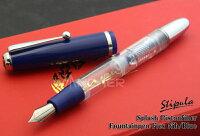 【ST62】【STIPULA/スティピュラ】スプラッシュピストン万年筆/透明軸・ブルーFlexnibFountainpen細字から極太まで自由自在!【即納/宅配便対応】
